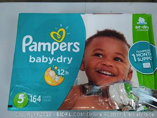 Pampers Baby Dry Disposable Diapers, Size 5, 164 Count