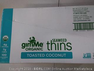 GimMe - Organic Seaweed Thins Toasted Coconut - 12 Pack