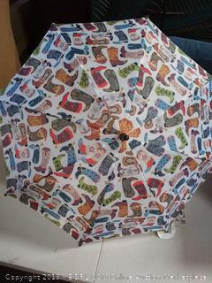 "RainStoppers W104 Kid's Boot Print Arc Umbrella, Multi, 32"""