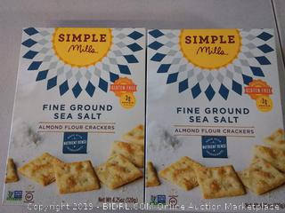 Simple Mills Almond Flour Crackers Gluten Free Fine Ground Sea x 2
