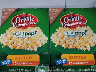 Orville Redenbacher's smart pop butter 12 plastic bags x 2