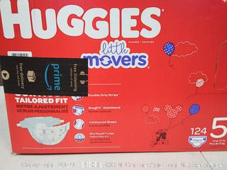 HUGGIES Little Movers Diapers, Size 5 (27+ lb.), 124 Ct