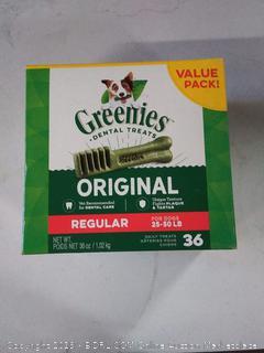 GREENIES Original Regular Size Natural Dental Dog Treats, 36 oz. Pack (36 Treats)