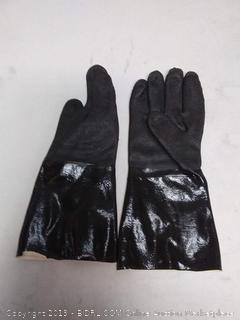 """Best Insulated BBQ Pit Gloves * 14"""" Length for Outdoor Barbecue, Cooking and Frying! * Designed For the Pit Master To Use With Your Turkey Fryer, BBQ, Smoker & For All Your Cooking and Food Handling. Heavy Duty Heat Resistant TEXTURED Neoprene."""