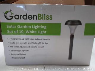GardenBliss Solar Garden Lighting set of 10, White Light