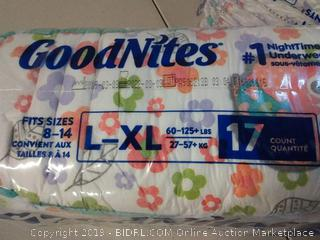 GoodNites Bedtime Bedwetting Underwear for Girls, L-XL (60-125+lb) 34 Ct.
