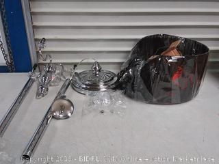 Elegant Designs Floor Lamp - 61H in. - Black Shade, Black / Greys(Shade Bent)