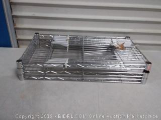 3-Shelf Shelving Storage Unit, Metal Organizer Wire Rack, Chrome Silver(One Rack Bent)