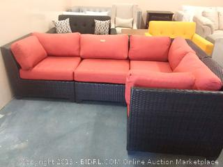 Sol 72 Outdoor Waterbury Sectional Sofa w/Terra Cotta Cushions