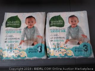 Seventh Generation Baby Diapers, Free and Clear for Sensitive Skin, Size 3, 31 Count, 2 Pack