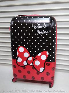 American Tourister Disney Minnie Mouse Red Bow Hardside Checked Luggage with Spinner Wheels, 28 Inch (online $107)