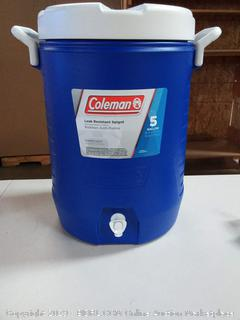 Coleman Beverage Cooler, 5 Gallons, Blue