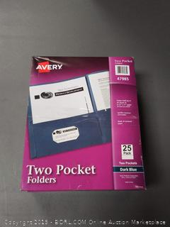 Avery Two Pocket Blue Folders, 25 Count, 2 Pack