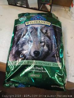 blue wilderness with duck for adult dogs. 24lbs