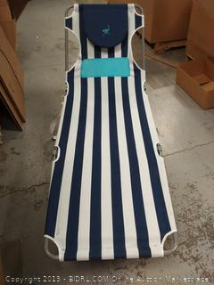 striped lounger, bottom doesn't fold up