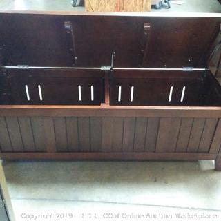 Simpli Home Acadian Solid Wood Rustic Entryway Storage Bench in Tobacco Brown (Online $179.99)