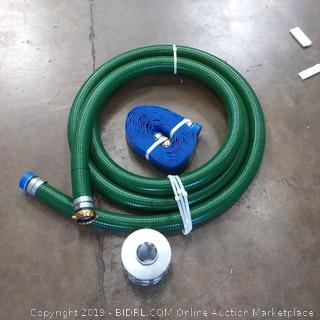 Green and blue fire hose