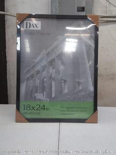 Flat Face Wood Poster Frame w/Plexiglas Window, 18 x 24, Black