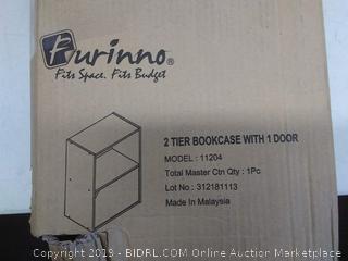 Furinno 11204SBE Pasir 2-Tier Bookcase with 1 Door