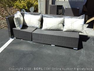 Wicker Patio Seat and Cushions (Please note only items in photos are included. This is not a complete set)