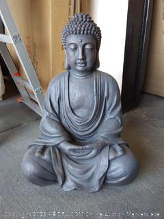 Design Toscano Meditative Buddha of the Grand Temple Garden Statue, Medium 26 Inch, Polyresin, Dark Stone (Online $109.99)