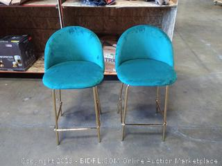 Dekea Velvet Upholstered Counter Height Barstools with Back [Set of 2], Teal