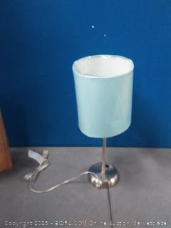 Limelights LT2024-AQU Stick Lamp with Charging Outlet and Fabric Shade, Aqua (lampshade is a little bent)
