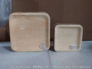 cater Eco disposable wood products, large plates and small plates
