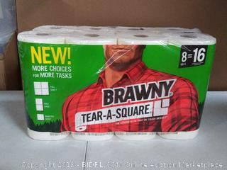 Brawny Tear-A-Square Paper Towels, Quarter Size Sheets, 8 Count