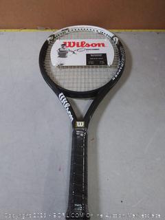 Wilson Hyper Hammer 5.3 Strung Tennis Racket (Black/White, 4 3/8)