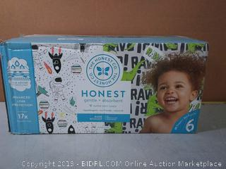 The Honest Company Super Club Box Diapers - Size 6 - Space Travel & T-rex Print Trueabsorb Technology Plant-Derived Materials Hypoallergenic 88Count