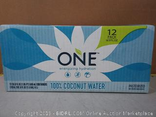 O.N.E. 100% Pure Coconut Water, USDA Organic Certified, Non-GMO Project Verified, 16.9 fl oz. containers (12 Pack)