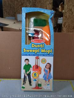 Melissa & Doug, Lets Play House! Dust! Sweep! Mop! Pretend Play Set (6-piece, Kid-Sized with Housekeeping Broom, Mop, Duster and Organizing Stand for Skill- and Confidence-Building)