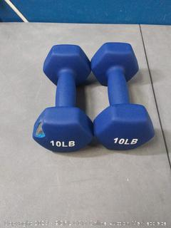 10 Pound Neoprene Dumbbells Weights - Set of 2, Navy Blue (one has a tear in rubber)