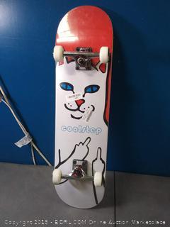 pro skateboard 31 inch by 8 inch white cat