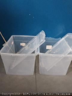 KIS 14.9L Clear Omni Storage Box 2 boxes (cracked lids and top broken on boxes)