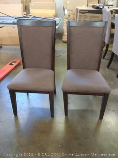 Brown Upholstered Ladderback Dining Chairs x2