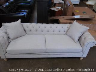 House of Hampton Lantz Chesterfield Sofa, Beige Linen Blend (Online $509.99)