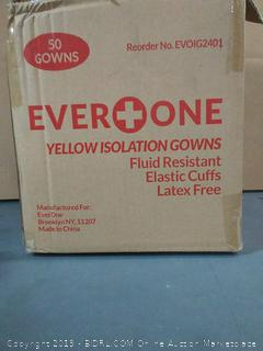 EverOne Isolation Gown Fluid Resistant - Full Back, Yellow (Case of 50)