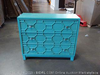 Rosen 3 Drawer Accent Chest, Turquoise (Online $348.22)