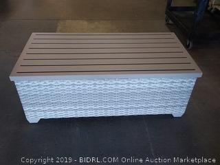 Falmouth Rattan & Metal Storage Table, Color: Acrylic