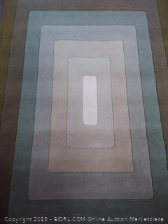 Git Mit Home AY596 Area Rugs, 5'x 8', Vanilla, Winter Wheat, Poor Blue, Olive Branch