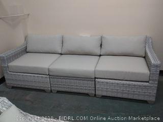 Falmouth Rattan Sofa with Cushions, Color: Acrylic