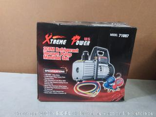 XtremepowerUS 3CFM 1/4HP Air Vacuum Pump HVAC R134a R12 R22 R410a A/C Refrigeration Kit AC Manifold Gauge Carrying Tote(Factory Sealed) Online $127