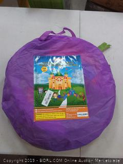 play two five piece tent tunnel and ball pit Playhouse set orange green and purple