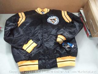 STARTER NHL Pittsburgh Penguins Men's The Enforcer Retro Satin Jacket, Large, Black