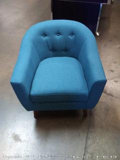 Homelegance Lucille Fabric Barrel Chair, Blue (Online $126.27)