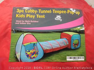 3 piece cubby tunnel teepee pop up kids play tent