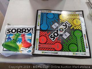 sorry board game(,missing game pieces)