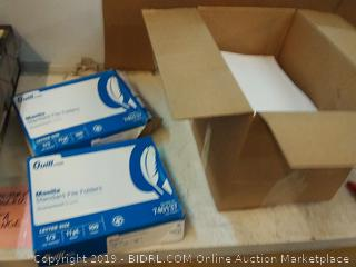 file folders and box of paper